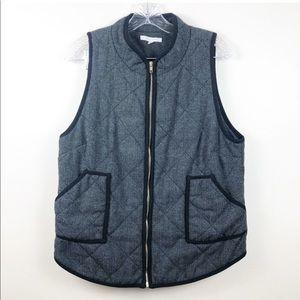 41 HAWTHORN Quilted Herringbone Wool Zip Up Vest